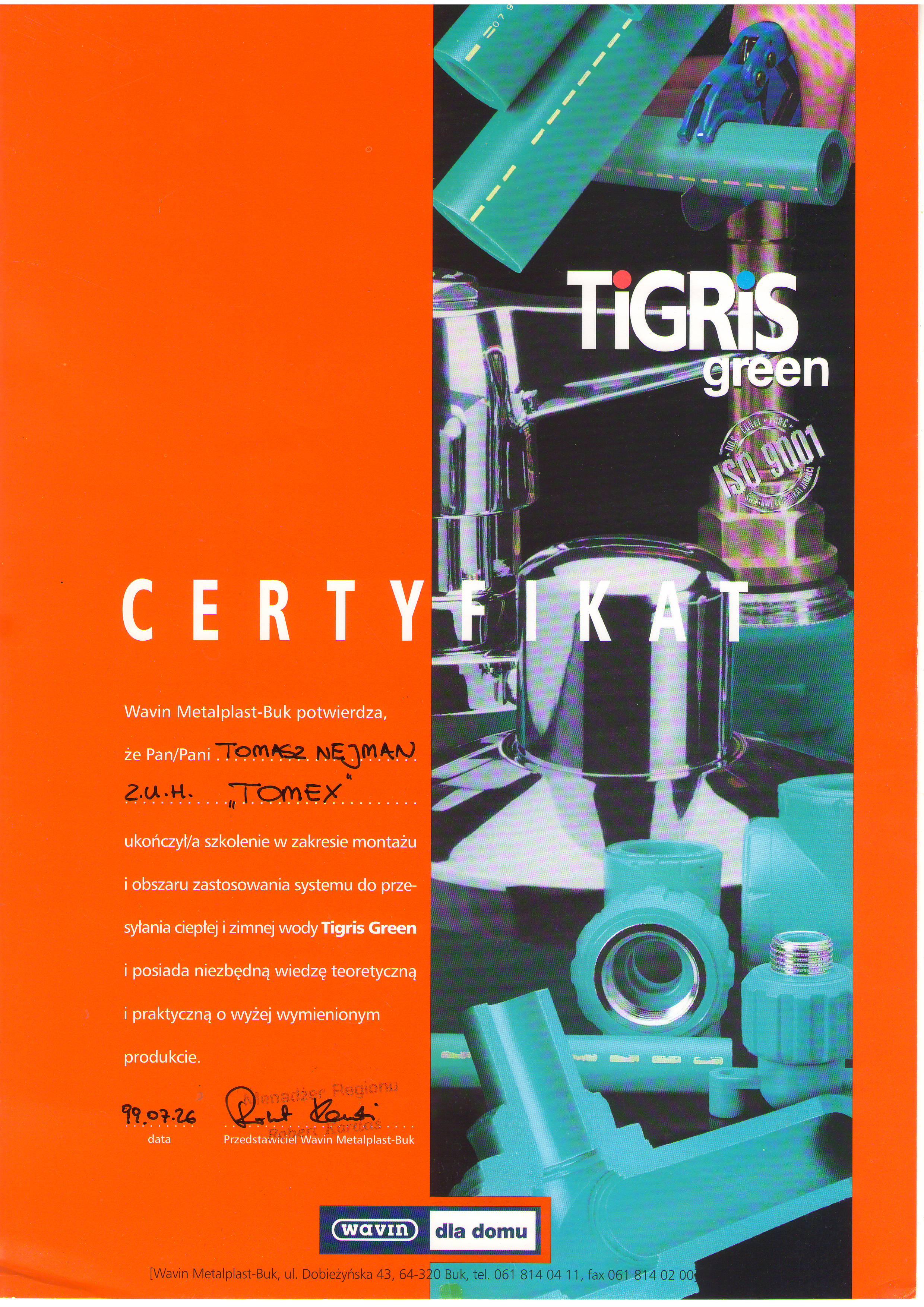 Certyfikat Tigris Green Instalacje wodnokanalizacyjne