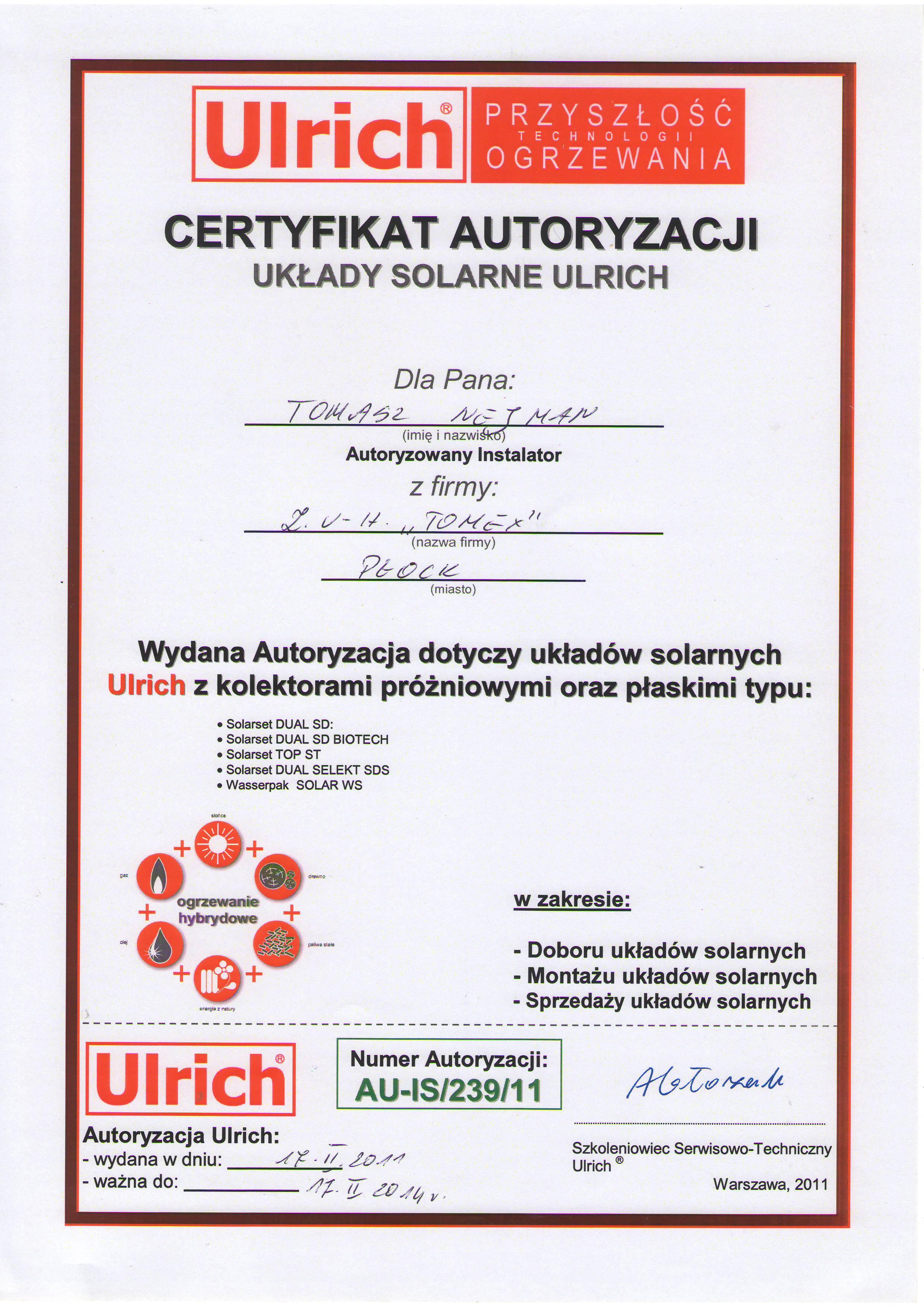 Certyfikat układy solarne Ulrich